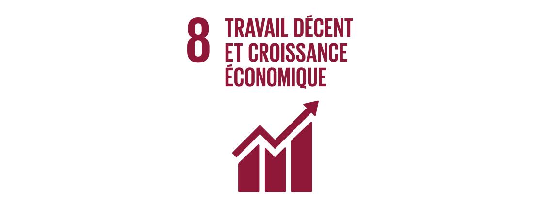 Logo des objectifs de développement durable : travail décent et croissance économique